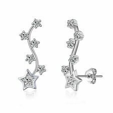Silver Star Climber Earrings Created with Swarovski® Crystals