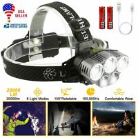 50000LM T6 LED Headlamp USB Rechargeable Headlight Torch Lamp 6Modes 18650+Cable
