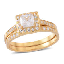 Wedding Set 14K Yellow Gold Over Sterling Silver Halo Pave Princess Cut Ring 6
