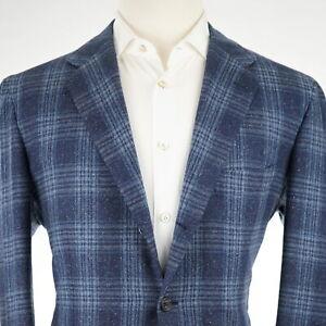 NEW $9,000 Kiton Custom Blue Donegal Fleck Wool/Cashmere/Silk Men's Jacket 44R