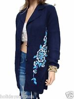 Size 14-16 UK Ladies womans navy long winter floral embroidered cardigan jacket