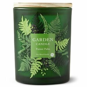 Huntington Home FOREST PALM SCENTED - 6.5oz Frosted Glass GARDEN Candle NEW TAGS