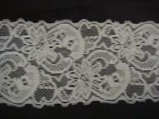2 yards pure white shiny scalloped stretch lace trim 3 1/4''w S 9-3 USA SHIPPER