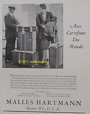 PUBLICITE MALLES HARTMANN ARMOIRE VALISE ART DECO OLD ENGLAND DE 1930 FRENCH AD