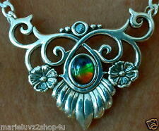 One Of A Kind ! Ammolite Solitaire Necklace Collar Choker Free Ship In US