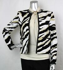 $2100 Authentic Gucci Women's Zebra Print Jacket w/Leather Trim 42 348661 1950