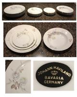 VINTAGE Johann Haviland Dinnerware DAWN ROSE  White Roses 19-Piece Germany