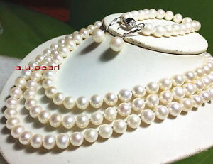"AAAAA 48""9-10mm REAL south sea white pearl necklace bracelet earring sets 14K"