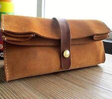 Handmade Soft Genuine Cow Leather Vintage Retro Pen Pencil Case Pouch Makeup Bag