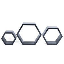 Black 3x Wood Floating Home Wall Decoration Hexagon Shelf Fine Workmanship