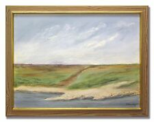 ALLY ALMVIKEN / BLUE SKIES OVER FLAT COAST LINE - Original Swedish Oil Painting
