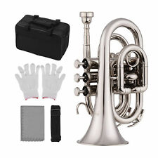 Muslady Mini Taschentrompete Bb Flachmessing Material Blasinstrument mit O2Q9