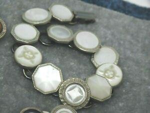 ART Deco Cufflink Bracelet : Mother of Pearl