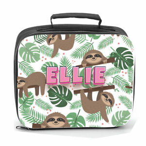 Personalised Lunch Bag Sloth Jungle Kids Child's Name School Dinner Lunch Box