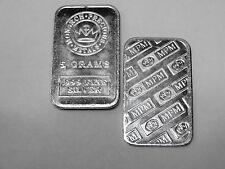 (ONE)  5  GRAM BAR MONARCH PRECIOUS METALS MINT - .999 FINE SILVER      #MPM314
