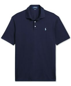 NEW POLO RALPH LAUREN CLASSIC FRENCY NAVY INTERLOCK EMBROIDERED POLO SHIRT