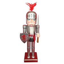 Red Lion Knight with Shield and Sword Wooden Christmas Nutcracker 14 Inch New