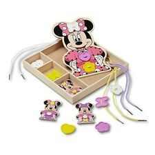 Disney Mickey Mouse & Friends Minnie Mouse Button-Match Wooden Lacing Set-New!