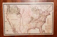 Old states map. United States of America 1830 territorial map 11 x 17 laminated