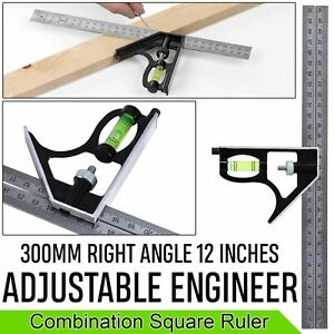 12 inch 300mm Adjustable Engineers Combination Right Angle Ruler Try Square Set
