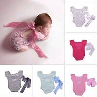 Newborn Infant Baby Girls Lace Floral Romper Bodysuit Jumpsuit Outfits Clothes