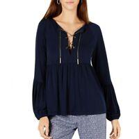 MICHAEL KORS NEW Women's Chain Lace-up Peasant Blouse Shirt Top TEDO