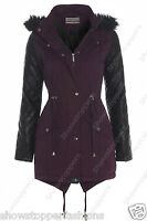 NEW Women's Quilted PU Sleeve PARKA JACKET COAT FISHTAIL Size 8 10 12 14 16