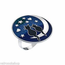 ATTRACTIVE ENAMELLED 'LOVE CATS  ON MOON' SILVER PLATED SCARF RING IN  BOX