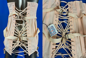 Unworn 1940s Vintage Camp Corset Support Pink Girdle Garters Fan Lacing Sz27 NWT