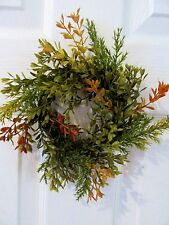 CANDLE RING~BOXWOOD & SPRUCE LEAVES~GREEN W/ FALL ACCENTS~ARTIFICIAL CANDLE RING