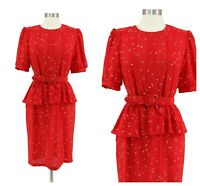 Vintage 80s Red Confetti Print Chiffon Peplum Belted VLV Secretary Dress Size S