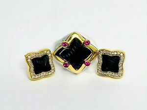 David Yurman Quatrefoil Collection Set, Ring and Earrings with Carved Black Onyx