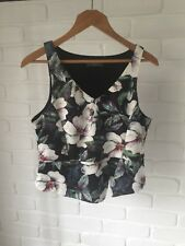 Cropped Floral Peplum Stretch Jersey Sleeveless Top TEMT Size XL Casual or Work