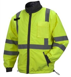 Pyramex RJR3410XL Hi-Vis Lime Windbreaker Polyester Jacket, 4-in-1, Size X-Large