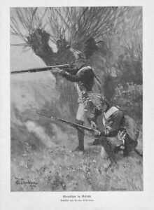 Grenadiers IN Battle Musketen Wood Engraving From 1905