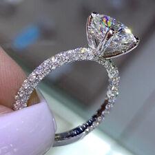 Diamond Engagement Rings Women's Round Cut 1.70 Ct 18K White Gold Size 5 6 7 8.5