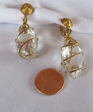 VINTAGE MID CENTURY MODERN  GOLD WIRE CRYSTAL CLEAR LUCITE DROP DANGLE EARRINGS