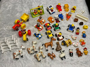 Huge Vintage Fisher Price Little People Lot Animals, Vehicles, Accessories
