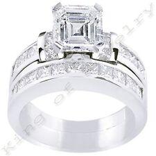 2.78 Ct. Asscher Cut Diamond Engagement Ring & Matching Band Channel Bridal Set