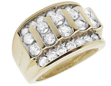 Men's 10K Yellow Gold Genuine Diamond Channel Wedding Band Pinky Ring 3.0CT 17MM