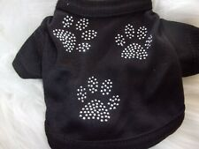 Lightweight black Paw print T- Shirt Dog Knit XXS XS S Paws n Claws puppy new