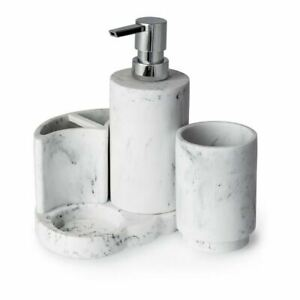 BLUE CANYON AREZZO 4 IN 1 BATHROOM ACCESSORY SET MARBLE SOAP TOOTHBRUSH HOLDER