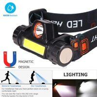 COB LED Headlamp USB Rechargeable Flashlight Waterproof Head Lamp Torch Camping
