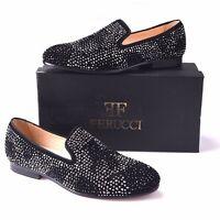 Men FERUCCI Black Slippers Loafers Flat With Crystal GZ Rhinestone Prom Wedding