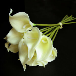 10PCS Latex Real Touch Calla Lily Bouquets Bridal Wedding Home Decorations