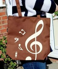 Treble Clef Tote Bag in Brown - Music Gift - Music Themed Shopping Bag