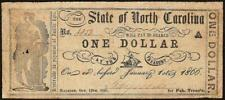 1861 $1 ONE DOLLAR BILL NORTH CAROLINA NOTE CURRENCY OLD PAPER MONEY Cr. 132B