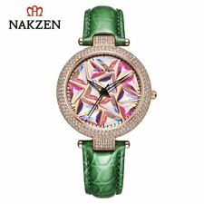NAKZEN Multicolored Ladies Women Quartz Watch Green Strap Spinning Watch SEE VID