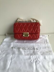 NWT Authentic Michael Kors Small Sloan Chain Shoulder Bag - Bright Red