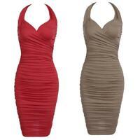Women Fashion Halter Sleeveles Solid Bodycon Slim Pencil Ruched Dress W2YN